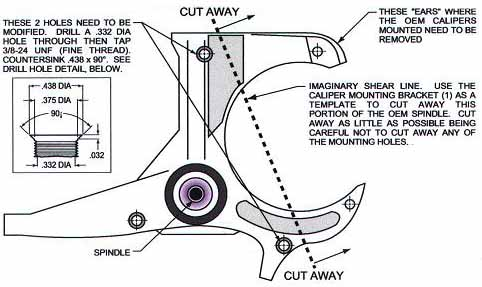 82-92 Thirdgen Camaro, Firebird (F-Body): Spindle modification diagram
