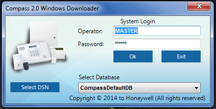 Honeywell Compass software, main login screen