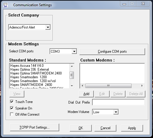 Honeywell Compass software - modem setup