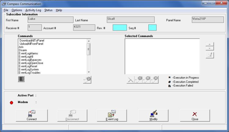 Honeywell Compass software - communications dialog