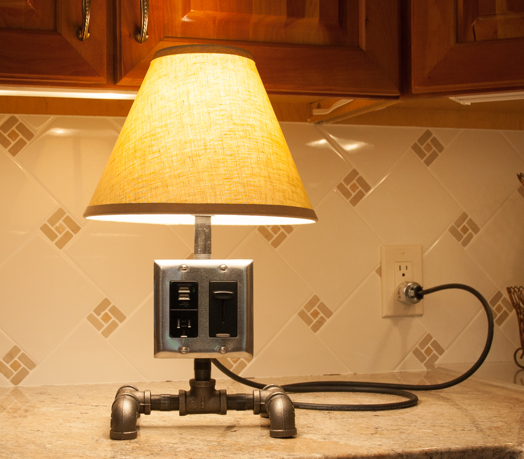 Diy pipe lamp with eletrical outlet and usb charger its pretty easy to build a pipe lamp you only need a few basic tools and a pipe wrench arubaitofo Images