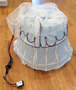 petticoat with LEDs attached, wired up